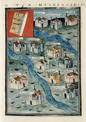 Mesopotamia (Roman province) - Map of Roman military stations in Mesopotamia from a 1436 manuscript