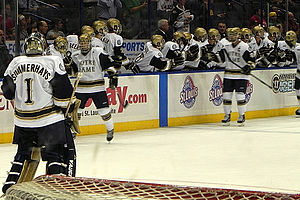 Notre Dame Fighting Irish men's ice hockey - Jeff Jackson and coaching staff look on as Notre Dame celebrates a goal (2010).