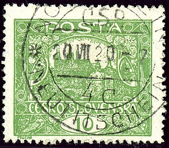 Nový Jičín - Czechoslovakian stamp, bilingual cancelled in 1920
