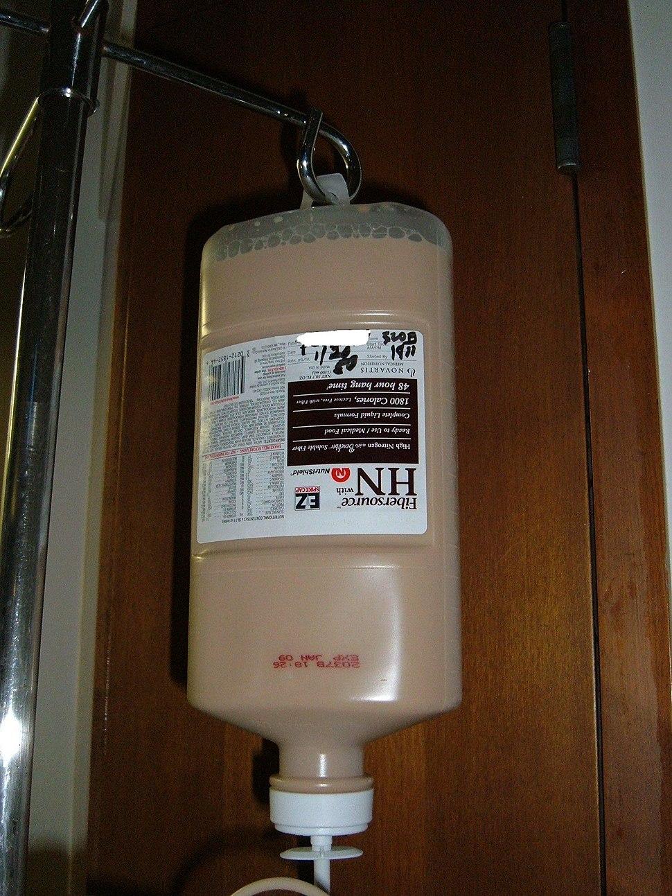 Novartis Fibersource HN medical food on IV pole