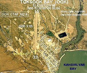 Toksook Bay, Alaska - Annotated aerial photograph of Toksook Bay Airport (OOK) in Toksook Bay