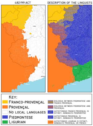 Occitan Valleys - Image: Occitan Valleys according to the 482 99 Act vs. linguists