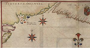 "João da Gama - Atlas of João Teixeira Albernaz I, 1643, showing the North Pacific Ocean and the area reached by João da Gama, including islands João da Gama found (possible the Kuril islands, hypothesis clearly shown by maps as of Joseph Nicolas Delisle. Other maps also made reference to a mythical more largest land, also northeast of Japan). The mythical or ""recognized"" Strait of Anián, separating Asia and the Americas, is also shown. Part of the known North American coast is possibly widely shifted to the northwest"