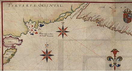 "Atlas of Joao Teixeira Albernaz I, 1643, showing the North Pacific Ocean and the area reached by the navigator Joao da Gama, including islands Joao da Gama found (possible the Kuril islands or lands further northeast. The mythical or ""recognized"" Strait of Anian, separating Asia and the Americas, is also shown. Part of the known North American coast is possibly widely shifted to the northwest Oceano pacifico e Estreito de Anian.jpg"