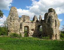 The substantial ruins of a medieval castle