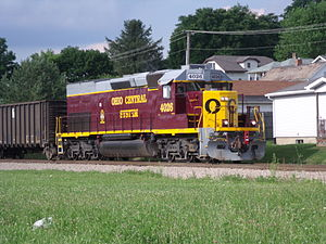 Ohio Central Railroad System - An Ohio Central train in South Zanesville, Ohio