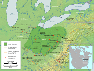 Ohio Country - The Ohio Country with battles and massacres between 1775 and 1794