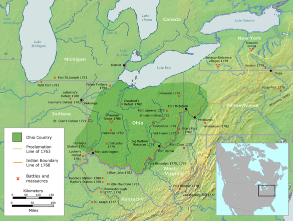 The Ohio Country with battles and massacres between 1775 and 1794 Ohio Country en.png