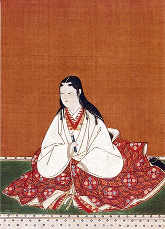 Kosode - Oichi wearing a Kosode and uchikake wrapped around the waist.