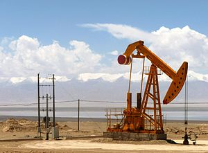 Qinghai - Oil well in Tsaidam (Qaidam), Qinghai