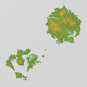 Oki Islands - Image: Oki Islands Relief Map, SRTM