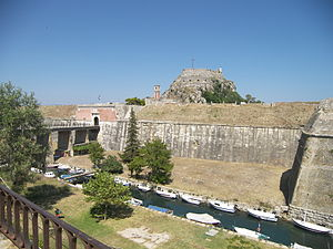 Old Fortress, Corfu - The bridge to the city and the Contrafossa. The hill of Castel a Terra is visible to the east of the main gate.