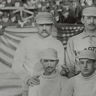 "History of the Boston Braves - Charles ""Old Hoss"" Radbourn (standing, far left) giving the finger to the cameraman, the first known photograph of the gesture (1886)"