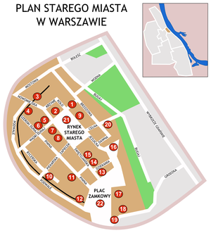 Old Town in Warsaw map