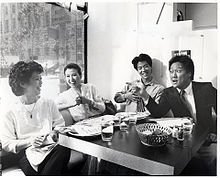 "On-set photograph during the shooting of Wayne Wang's 1985 film, ""Dim Sum- A Little Bit of Heart"".jpg"