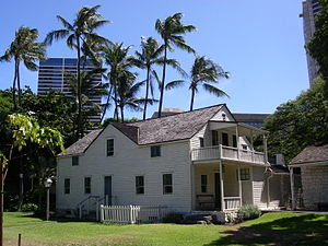 Hawaiian architecture - One of the houses in the mission houses museum, Honolulu.