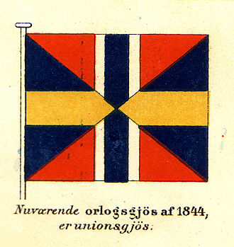 Union mark of Norway and Sweden - The union naval jack and diplomatic flag of Norway and Sweden 1844–1905. The proportions 4:5 were those of the union mark in Swedish flags.