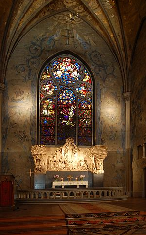 Emanuel Vigeland - Stained glass above altar in Oscar's Church