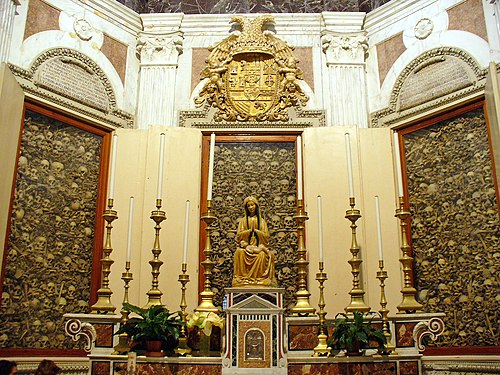 Relics of the Martyrs of Otranto inside Otranto Cathedral. Otranto cathedral martyrs.jpg