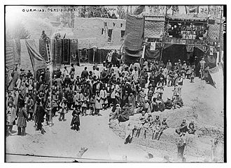 Urmia - People of Urmia awaiting the Shah, 1911