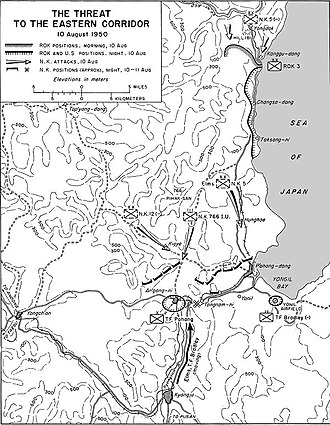 Battle of P'ohang-dong - North Korean forces advance on UN lines, 10 August 1950.