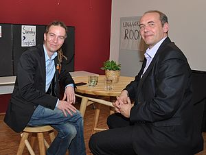 Pirate Party - Ivan Bartoš (left), chairman of the Czech Pirate Party, and Libor Michálek, Czech whistleblower and Pirate Party member, 2012