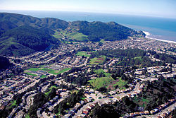 Aerial view of Linda Mar District in Pacifica