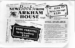 Arkham House - 1946 advertisement for Arkham House