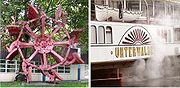 Left: original paddlewheel from a paddle steamer on the lake of Lucerne.Right: detail of a steamer