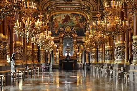 Opera Garnier, Paris, a symbol of the French Second Empire style Palais Garnier's grand salon, 12 February 2008.jpg