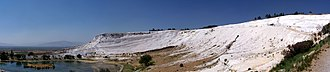Pamukkale - Panoramic view of travertine terraces at Pamukkale