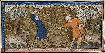 Men knocking down acorns to feed swine, from the 14th century English Queen Mary Psalter, MS. Royal 2 B VII f.81v