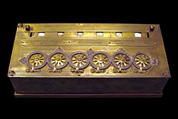 six figures calculating machine by Blaise Pascal without sous or deniers
