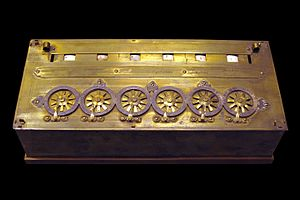 Blaise Pascal - An early Pascaline on display at the Musée des Arts et Métiers, Paris