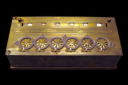 An early Pascaline on display at the Musee des Arts et Metiers, Paris Pascaline-CnAM 823-1-IMG 1506-black.jpg