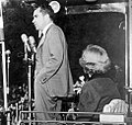 Pat & Dick Nixon in Ann Arbor, on a whistle-stop campaign tour, October 15, 1952. (8295115760) (cropped1).jpg