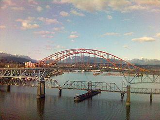 British Columbia Highway 99A - Pattullo Bridge, seen from the Skybridge.