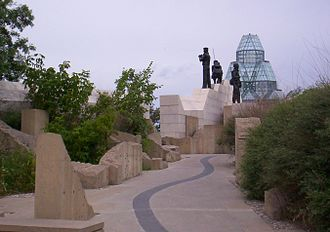 Peacekeeping Monument - Peacekeeping Monument, seen from southeast. The National Gallery stands in the background