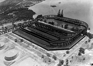 Fuelling station - The coaling station at Pearl Harbor with fuel tanks in the foreground, in 1919.