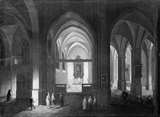 Interior of a Gothic Church by Night