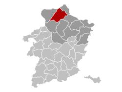 Ligging Pelt binnen Belgisch Limburg
