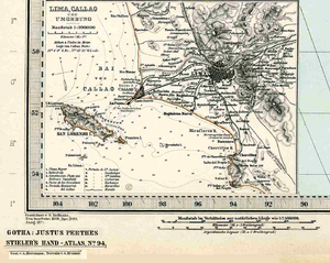 Callao affair - A 19th century map of Peru showing the location of Fortaleza del Real Felipe and the batteries which fired on USS Macedonian.