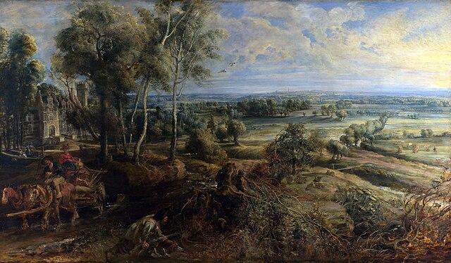 Пейзаж с замком Стеен в раннее утро. 1636, масло по дереву, 131,2×229,2см. Лондон, Национальная галерея