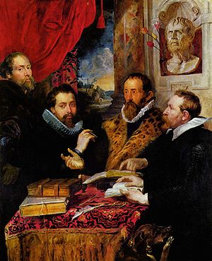 Justus Lipsius - The Four Philosophers (c. 1615. Oil on panel; 167 x 143 cm, Pitti Palace, Florence). One of Lipsius's students was Philip Rubens, the brother of the painter Peter Paul Rubens. In his friendship portrait of about 1615, the painter depicted himself, his brother, Lipsius and Jan van den Wouwer, another pupil of Lipsius, (left to right) along with Lipsius' dog Mopsulus. A bust of Seneca behind the philosopher references his work, while the ruins of Rome's Palatine Hill in the background further commemorate the classical influences. Rubens painted a similar friendship portrait while in Mantua around 1602 (now in the Wallraf-Richartz Museum, Cologne) that also includes Lipsius.