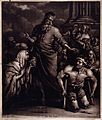 Peter heals the lame man outside the temple. Mezzotint by P. Wellcome V0034961.jpg