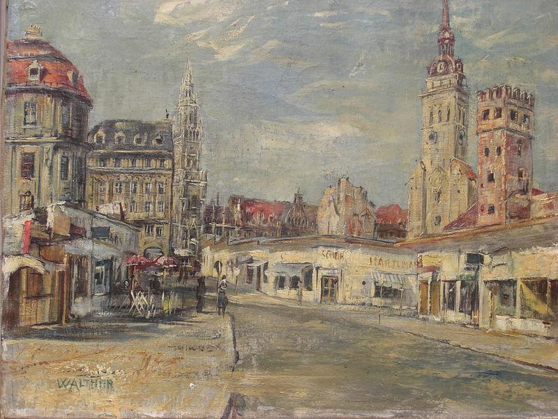 File:Peterskirche und Löwenturm in München (1950) WV2051.jpg