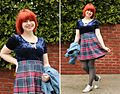 Petite Panoply- Plaid Pleated Skirt with a Blue Velvet Crop Top (16472960930).jpg