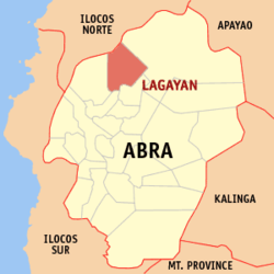 Map of Abra showing the location of Lagayan
