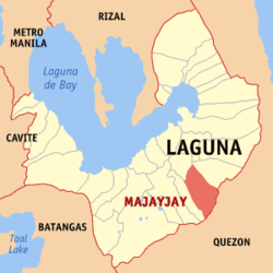 Map of Laguna showing the location of Majayjay.