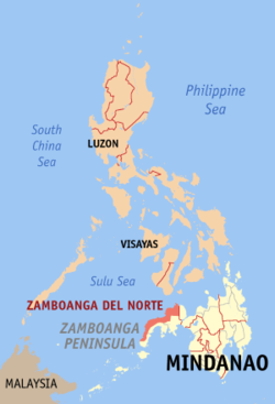 Map of the Philippines with Zamboanga del Norte highlighted